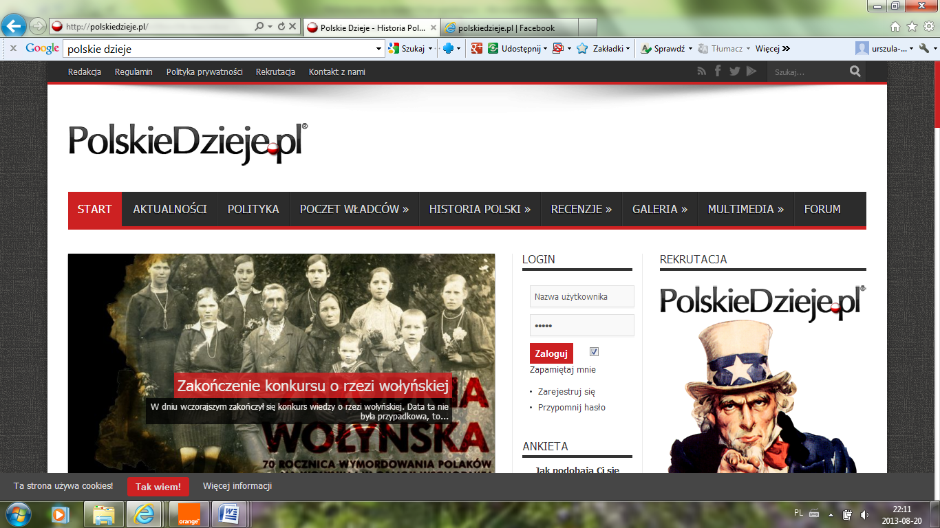 "Fig. 1. The print-screen of PolskieDzieje.pl with the material on the Wolyn crime and visible advertising using ""uncle Sam""."
