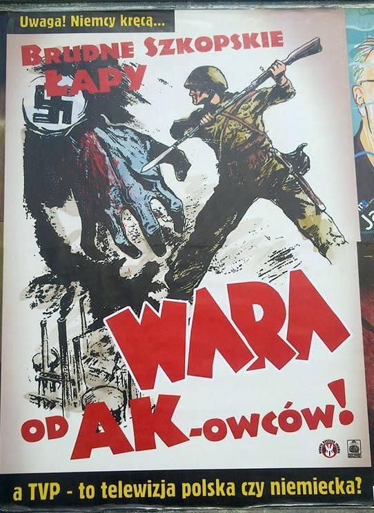 "Fig. 10. The poster prepared on the basis of the 1939 anti-nazi propaganda as a protest to the presentation of the series Unsere Mütter, Unsere Väter"" by Polish public television. The question is: TVP – it is Polish or German television?""."