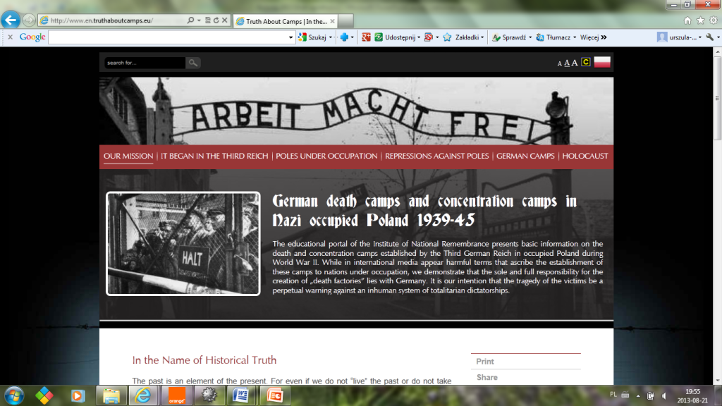 Fig. 11. The print-screen of the IPN portal on German death camps located in occupied Poland and the beginning of the below article is also visible (http://www.en.truthaboutcamps.eu/).