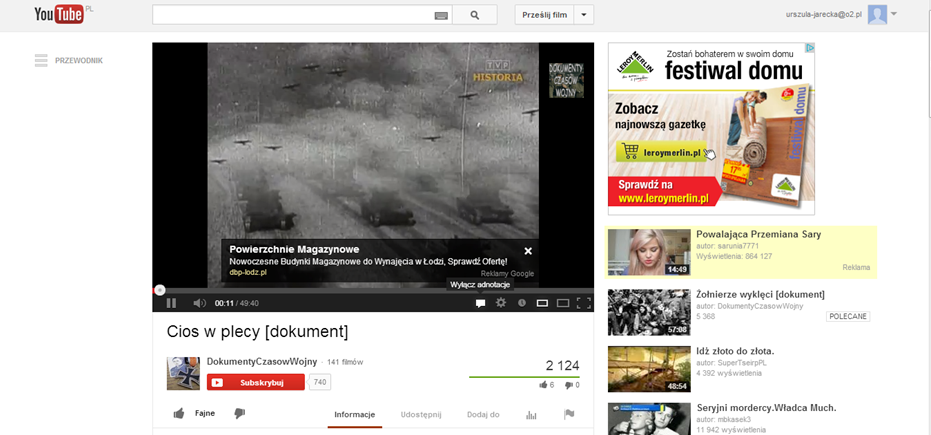 Fig. 3. The print-screen of YouTube movie Cios w plecy (A stab in the back) accompanied by ads.