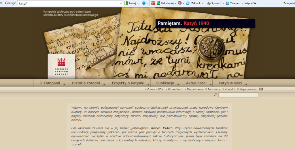 Fig. 4. The print-screen of Pamiętam. Katyń 1940, the site devoted to the description of the massacre and presentation the truth to the Polish as well as international public.