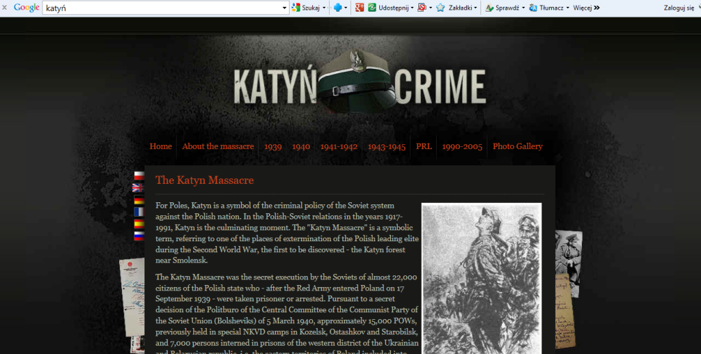 "Fig. 5. The print-screen of the site ""Katyń Crime"" dedicated to the commemoration of the victims of Katyń massacre; the site is in English."