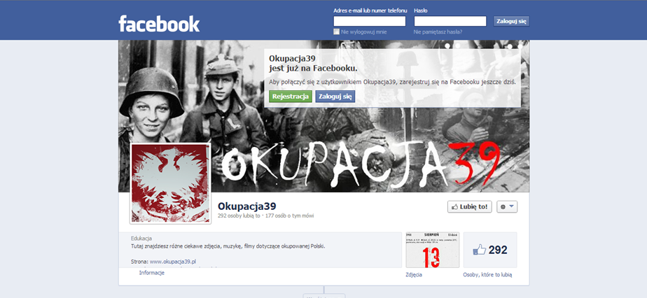Fig. 6. The print-screen of the Facebook page for okupacja 39, the portal devoted to the historical analysis and discussion of the whole period of German occupation of Polish territory during 1939-1945.