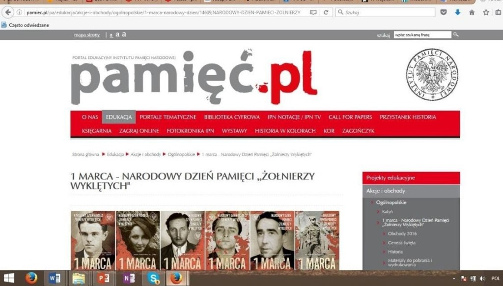 Fig. 1. The print screen from official site of the Institute of National Remembrance (IPN) for March 1 celebration[8].