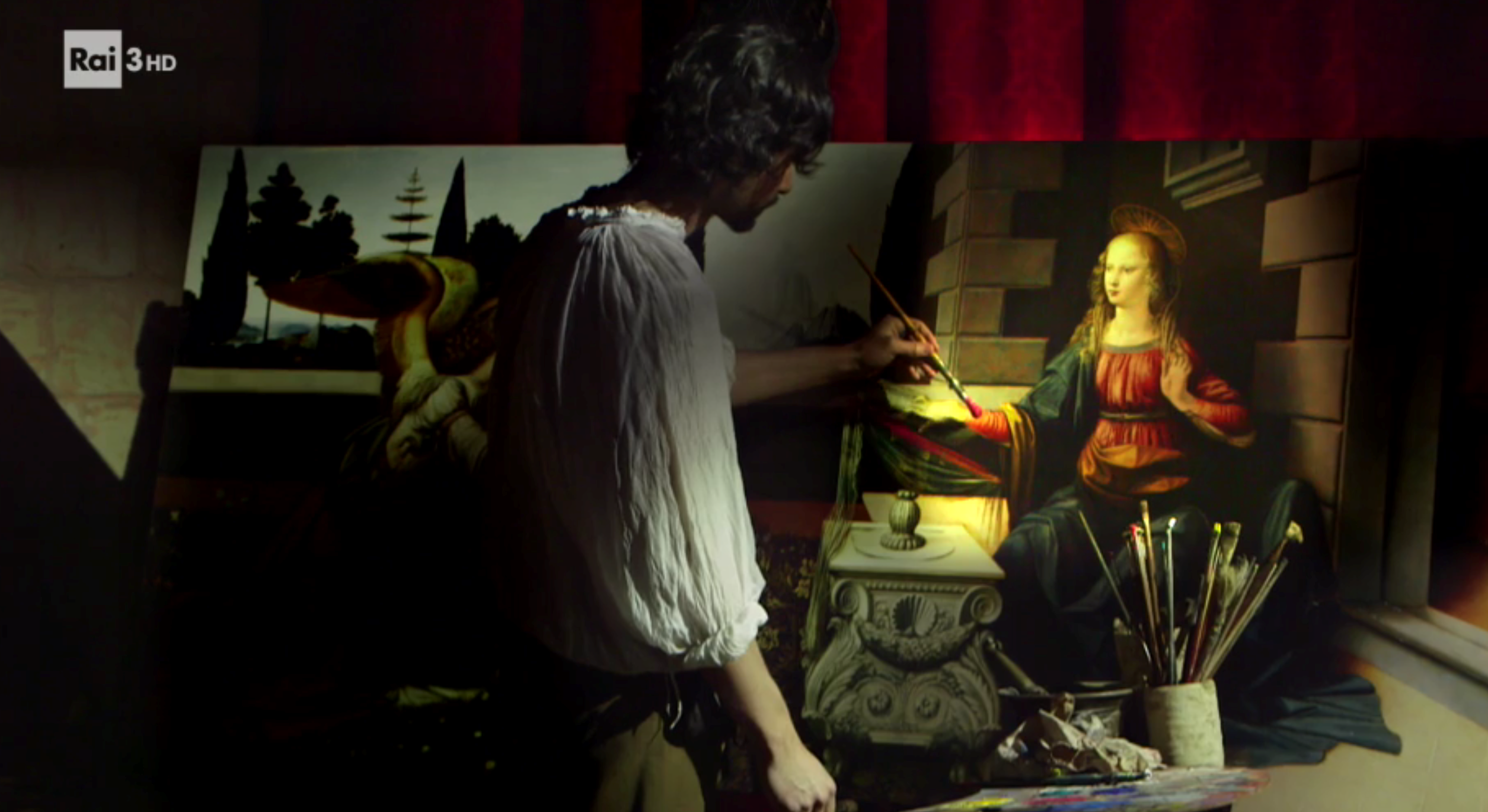 Leonardo himself! The actor prudently avoids putting his pencil on the canvas.