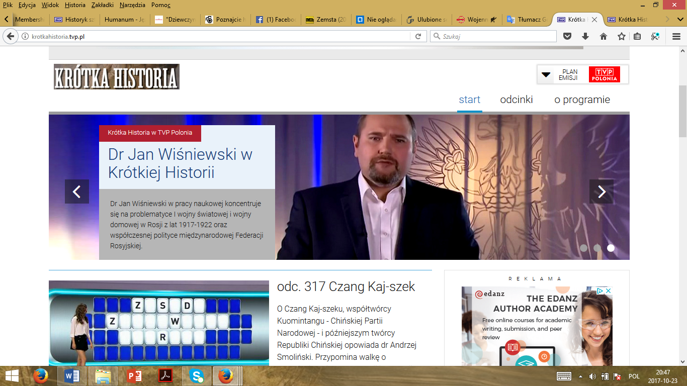 "The print screen from the homepage of the documentary series ""Krótka historia"" (Short history)."