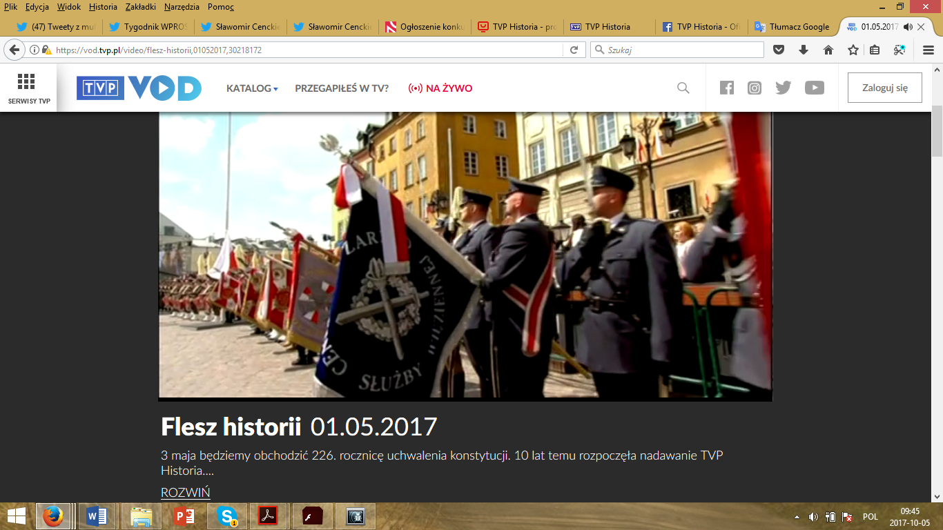 "Print screen of the advertising the program ""Flesz historii"" (A history flash), which was devoted to the anniversary of the TVP Historia channel."