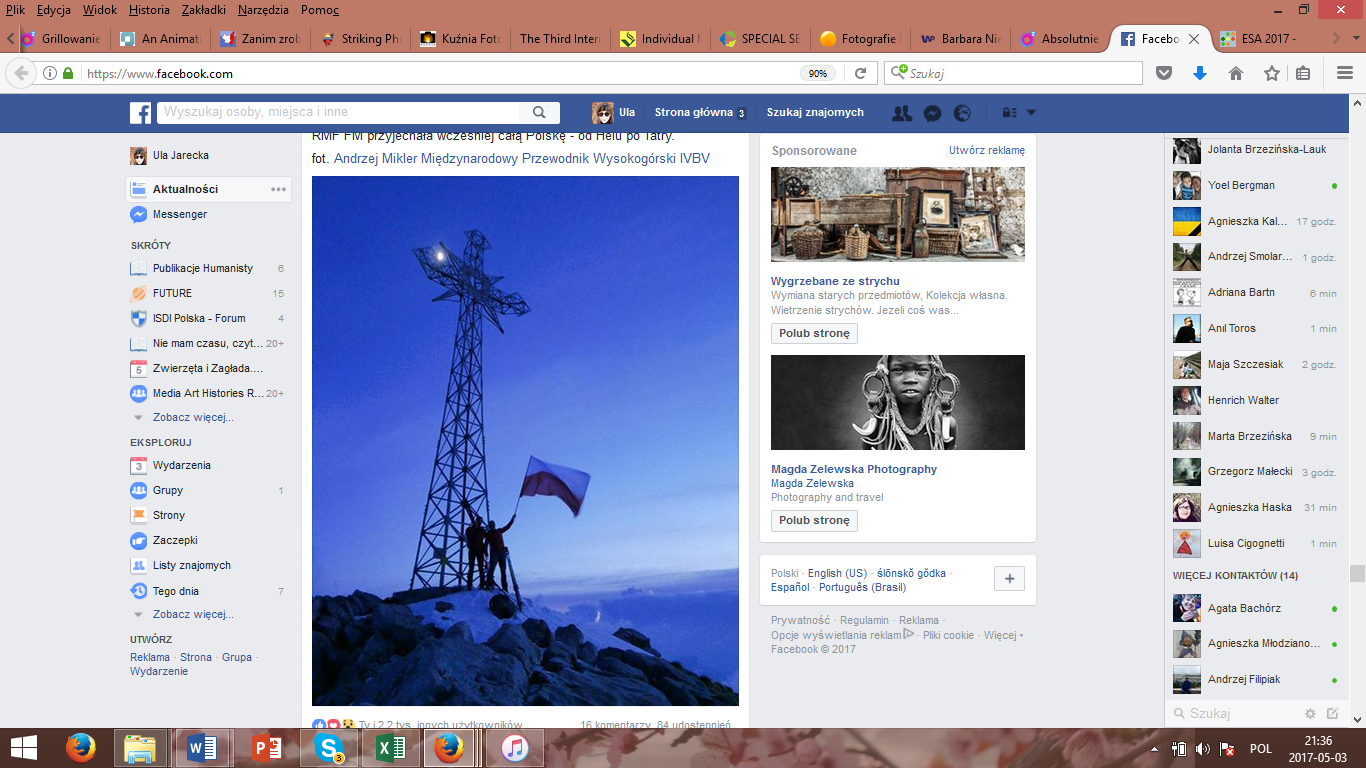 Print screen from Facebook post of Tatromaniak (the portal of mountains admirers), and the flag here is presented on the background of a cross on Giewont, very popular, iconic pick in the Tatra mountains.