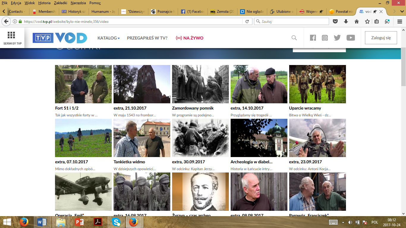 A print screen with the list of episodes from the homepage of Było, nie minęło… Kronika Zwiadowców Historii