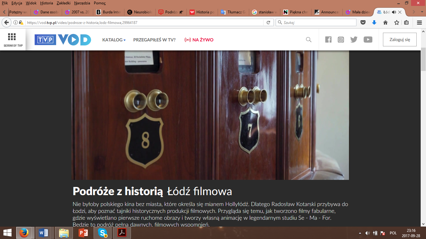 A print screen from the site with the episode Łódź filmowa (Łódź, city of the movies) of the series Podróże z historią (Traveling with history) broadcast during Saturday, May 6, 2017.