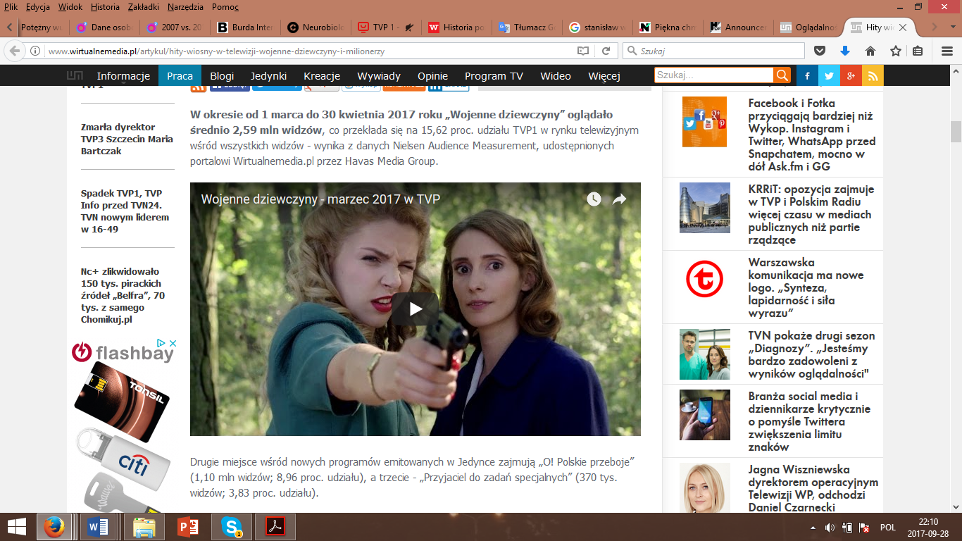 The print screen from Wirtualmedia.pl presenting the discussed data and with the clip from TV series War girls.