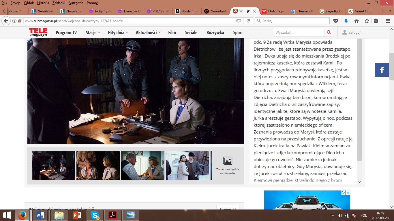 The print screen from description of an episode 9 of television series War girls (site of Telemagazyn, providing the archival programming).