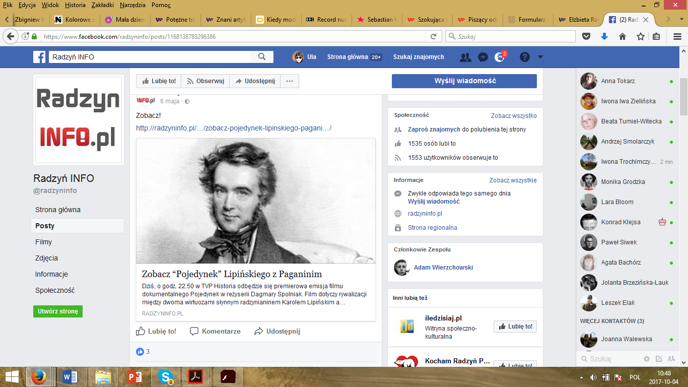 A print screen of Facebook Radzyń info.pl with the information on the Duel and Karol Lipiński.