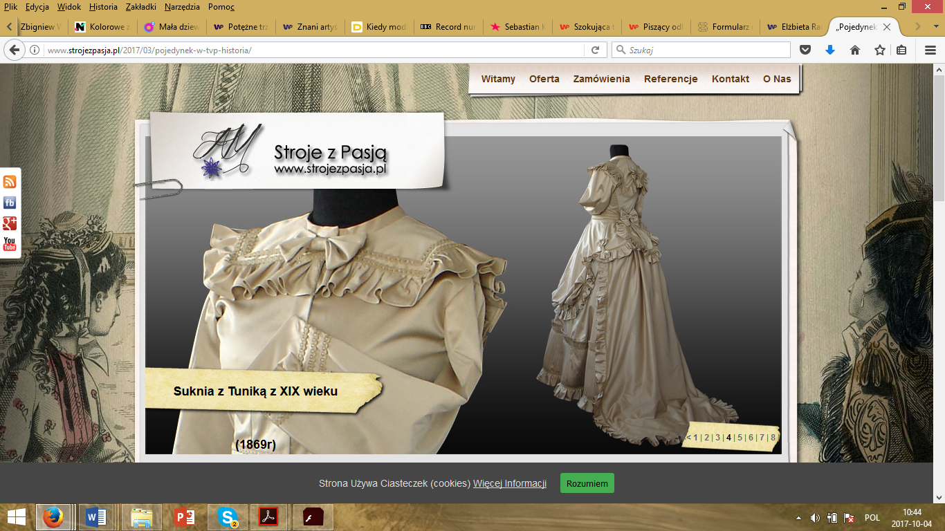 A print screen of Stroje z pasją site, the company which produced the historical costumes for the mentioned documentary.