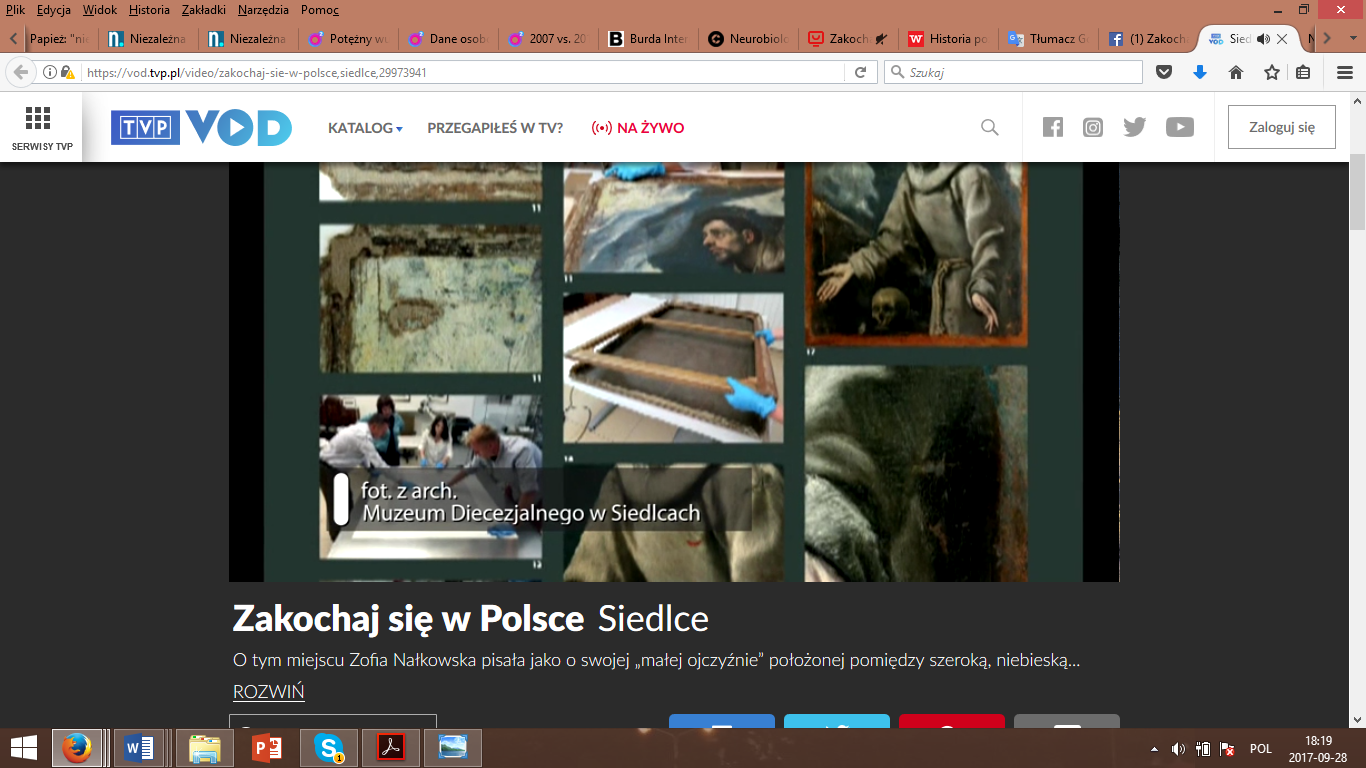 A print screen of the Siedlce episode of Zakochaj się w Polsce series broadcast by VOD.