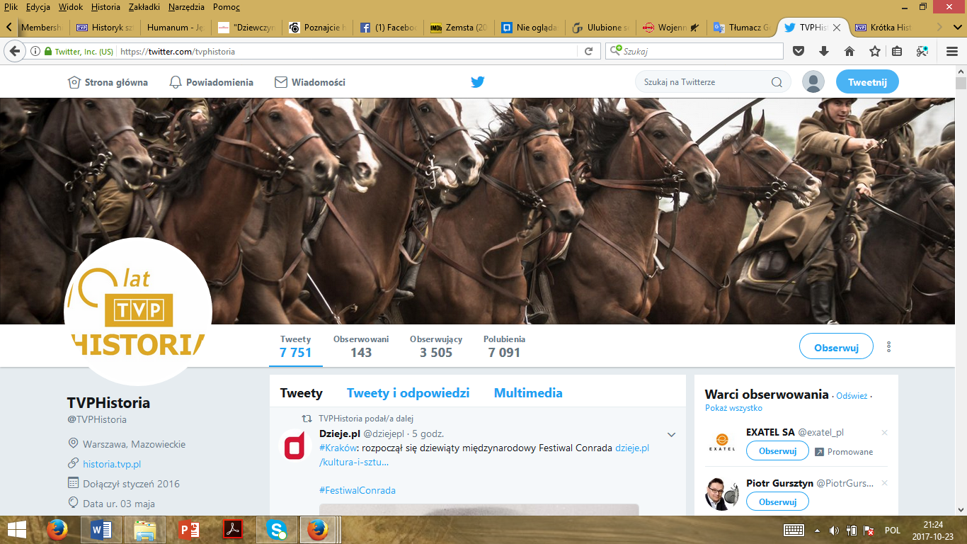 A print screen of TVP Historia on Twitter.